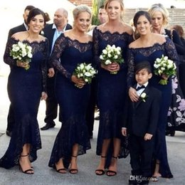 Dark Navy Lace Hi-lo Bridesmaids Dresses Off Shoulder Long Sleeve Wedding Party Prom Dress Beach Bridesmaid Dress
