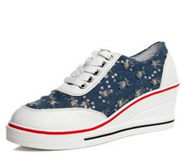 2018 Fashion Women's Shoes Mesh Breathable Shoes Women Ladies Wedges Glitter Bling Platform Casual Shoes Denim Blue