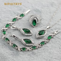 Green Women Wedding Jewelry Sets - Wholesale Horse Eye AAA Zircon Silver Plated Necklace Earrings Ring Bracelet For Women Rings Size 6-10