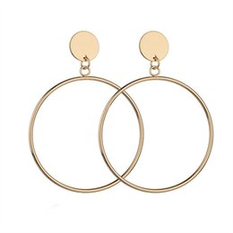 New Arrival Silver Gold Color Hollow Big Round Drop Earrings Rock Simple Hoop Earring For Women