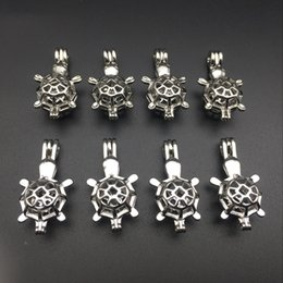 Pearl cage necklace pendant essence oil diffuser, the tortoise provides stainless steel color 10pc, plus your pearl makes it more attractive