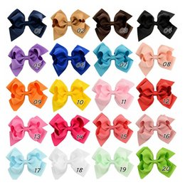 4 Inch Double Stacked Hair Bow Solid Ribbon for Kids Girls Baby Boutique Hair Accessories with Clip Headwear