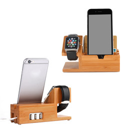 3 USB Ports Wooden Charging Station Charger Dock Bamboo Wood Charge Base Cradle Stand for iphone X 8 7 6 6S Plus 5S Apple Watch