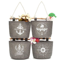 Hanging bag 4 pocket cotton linen wall hanging organizer bag multi-layer holder storage bag home decoration make up rack jewelry 16x16cm