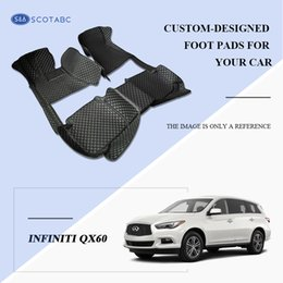 SCOTABC Custom-Fit Front & Rear Car Foot Pads All Weather Leather Car Floor Mats for Infiiniti QX60 Waterproof Anti-slip 3D Carpets