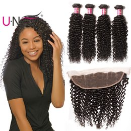 UNice Hair Peruvian Kinky Curly Frontal With 3 Bundles Human Hair Weave Bundles With 13x4 Lace Lace Frontal Ear to Ear Wholesale Bulk