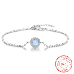 high quality 925 sterling silver handmade blue synthetic opal jewellry bracelets China low prices jewleries 2019 wholesale