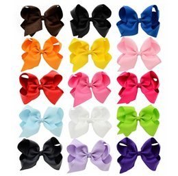 15 Colors 6 Inch Fashion Baby Ribbon Bow Hairpin Clips Girls Large Bowknot Barrette Kids Hair Boutique Bows Children Hair Accessories KFJ102