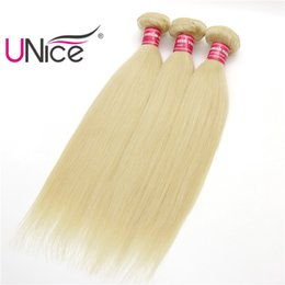 UNice Hair 8A Grade 613 Brazilian Straight 4 Bundles Virgin Wholesale 100% Human Hair Extensions Cheap Nice Bulk Blonde Beauty Hair Weaves