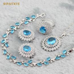 Blue Women Wedding Jewelry Sets - Wholesale Flower AAA Zircon Silver Plated Pendant Necklace Earrings Ring Bracelet For Women Size 6-10
