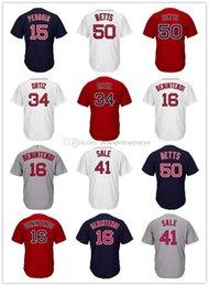Men's Boston Jersey Dustin Pedroia Mookie Betts Andrew Benintendi Chris Sale Pedro Martinez Bradley JR Baseball Jerseys