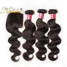 Nadula Brazilian BodyWave Hair 3-4Bundles With 1Free Lace Closure Human Hair Wefts With Lace Closure Human Virgin Hair Weave 50Pcs Wholesale
