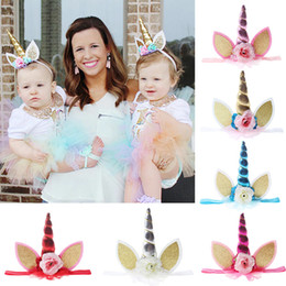 Quenya Unicorn Headbands Flowers Adult Girls Floral Hairband with Glitter Metallic Angle Cat Ears Headband Baby Birthday Party Hair Bows