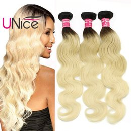 UNice Hair Wholesale 8A Remy Body Wave Ombre Hair Bundles Brazilian Indian T1B 613 Two Tone Bulk 100% Human Hair Extensions Cheap Weaves