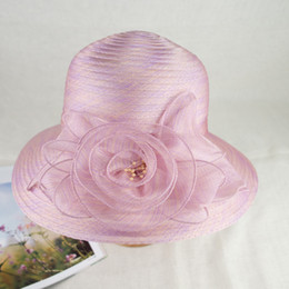 EPU-MH1812 2018 New Organza Floral Trim Fancy Summer Hat Elegant and Vogue for Ladies
