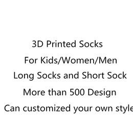 SF-Express DHL Fedex UPS 3D Socks Kids Adult Women Men Hip Hop Sock 3Cotton Skateboard Socks Printed Unisex Over 500 Style Customized
