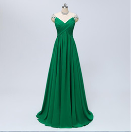 Emerald Green Vestidos de Fiesta Prom Dresses with Sleeves Chiffon Long Evening Dress With Beaded Sheer 2019 Formal Party Dresses ILOVED001