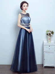 2018 Elegant long evening dress chiffon and satin cloth host dress hand sewn nail bead Decals Bridesmaid Costume