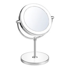 Double-Sided Lighted Vanity Makeup Mirror with LED Lights,1x 10x Magnification Round Shape with Base Touch Button