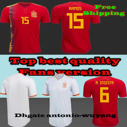 2018 world Spain jerseyS top best quality AWAY home Soccer Jersey Sergio Ramos 2018 MORATA ISCO PIQUE ASENSIO Football uniforms sales