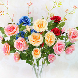 silk flower artificial muti clolor rose 5 flowers on one piece wedding and home decoration free - Home Decor Samples
