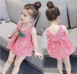 2018 Girl's Dresses Girl's Sleeveless Plaid Skirt A Line Kids Clothing Drop Shipping
