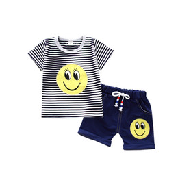 Fashion Summer Baby Girls Boys Striped Clothes Sets Children Smile Face Pattern T-shirt Jeans 2pcs sets Kids Casual Tracksuits