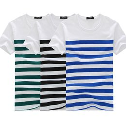 New Summer Mens T Shirts Fashion Short-sleeve Stripe T Shirt Tops Tees Round Neck Casual T-shirt Men's Clothing