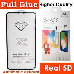 Real 5D Full Glue Curved Glass For iPhone X 8 8plus 7 7plus 6 plus iphone8 Tempered Glass Phone Screen Protector Automatic adsorption