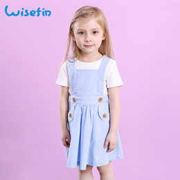 Wisefin 2018 New Summer Girls Dress Skirts White Short Sleeve + Blue Strap Dress Fashion Casual Two-Piece Suit Baby Sets