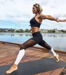 Wolesales European and American Hot style 2018 Women's Sports Fitness Elastic Pants High Waist With Patchwork mesh Fashion