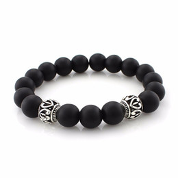 Wholesale 2018 New Arrival Mens Beaded Jewelry 8mm Black Matte Stone Beads Bracelets Party Gift Yoga Jewelry For Women Lovers