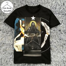 2018 summer couple black T-shirt men's brand clothing fashion Virgin Mary printing men's T-shirt O-neck Black T shirts