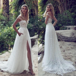 2018 Sexy Limor Rosen A-Line Lace Wedding Dresses Illusion Bodice Jewel Court Train Vintage Garden Beach Boho Wedding Bridal Gowns BA5403
