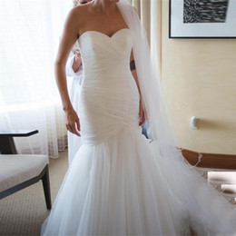 New Arrival Ruched Tulle Mermaid Wedding Dress Lace Up White Ivory Marry Dresses Bridal Dresses Hot Sale In Stock vestido de festa curto