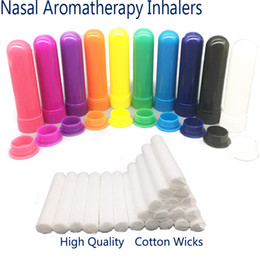 100 Sets Colored Essential Oil Aromatherapy Blank Nasal Inhaler Tubes Diffuser With High Quality Cotton Wicks