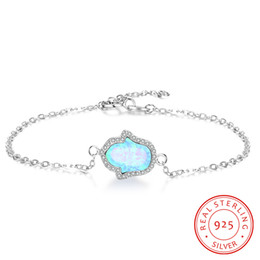 cute jewelry hand birthday present for friend sterling silver palm pendant bracelet blue opal design low prices