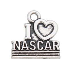 Jewelry Making Letter Charms Vintage Alloy I Love Nascar Shape Message Letter Charms 50pcs AAC954