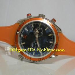 5 Style Luxury Men's Planet Ocean Mens 232.32.46.51.01.001 orange BEZEL Black Quartz Chronograph Professional Rubber Bands Sport Watches