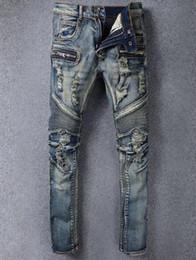 2018 New jeans for men Distressed Moto Biker Denim biker jeans Slim fit COTTON WASHED JEANS Mens