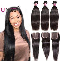 UNice Hair Raw Indian Straight Hair 4 Bundles With Closure 100% Human Hair Extensions Virgin Weave Bundles With Lace Closure Cheap Wholesale