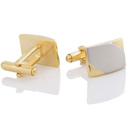 True gold double color surface white brushed men's cufflinks Gold type French sleeve button business cuffs free shipping