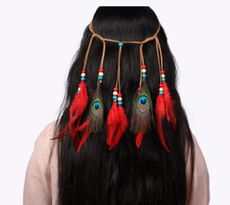Wholesale Hair Accessories Adjustable New Twist Peacock Feather Hair Band Indian Style Hair Ornament Free Shipping (you choose color)