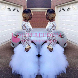 2018 African White Mermaid Lace Prom Dresses for Black Girls Long Sleeves Ruffles Tulle Floor Length Plus Size Evening Prom Gowns Vestidos