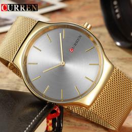 Curren Mens Watches Top Brand Luxury Gold Hombres de acero inoxidable Reloj de cuarzo Negocios de moda Hombre Relojes de pulsera Relogio Masculino