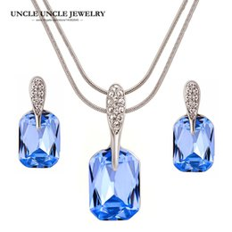White Gold Color Austrian Blue Rectangle Crystal Heart of Ocean Design Wedding Jewelry Set Necklace Earring Christmas Gift