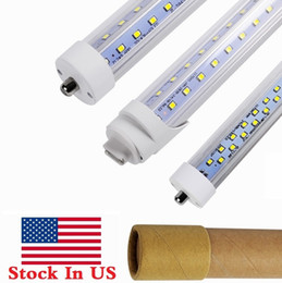 Stock In US + V-Shaped Single Pin FA8 R17D 8ft led tubes lights 8 feet T8 led lights tubes Double Sides AC 85-265V