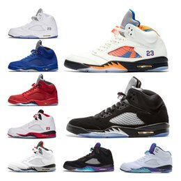 New 5 basketball shoes men sneaker International Flight OG black metallic fire red Blue Suede Olympic Gold White Cement trainer sports shoes