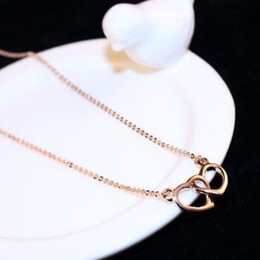 Double Heart Pendant Necklace Vintage Rose Gold Plated Chain Choker Necklace Bride Wedding Costume Collar Necklace Jewelry