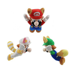 "Hot New 3 Styles 8"" 20CM Super Mario Bros Kitsune Fox Luigi Raccoon Tanooki Mario Racoon Fire Mario Plush Doll Anime Pendants Stuffed Toys"